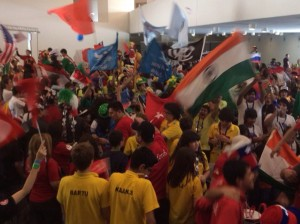 FLL Teams with flags